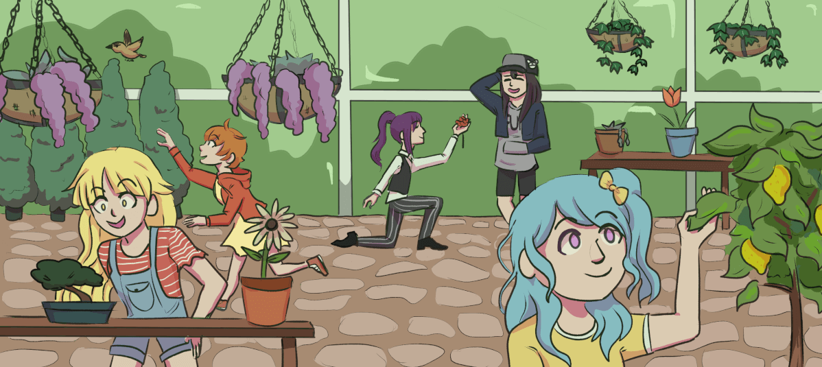 I drew the Hello Happy World! girls at a garden center... I love Misaki best but she ended up in the...