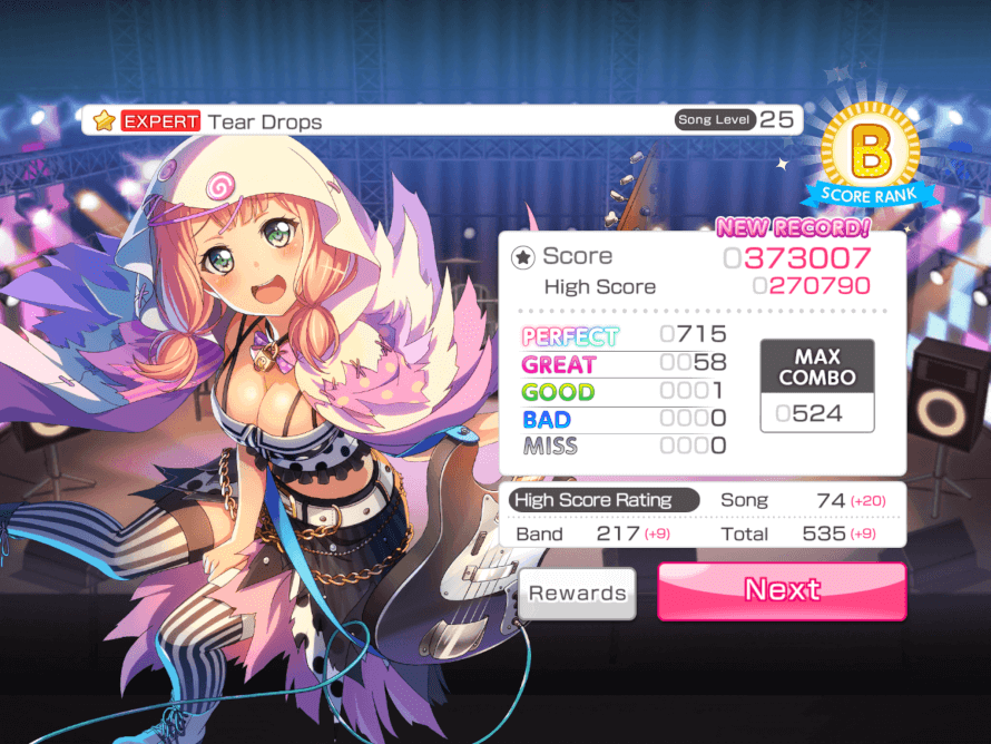Bandori never lets me FC this song.