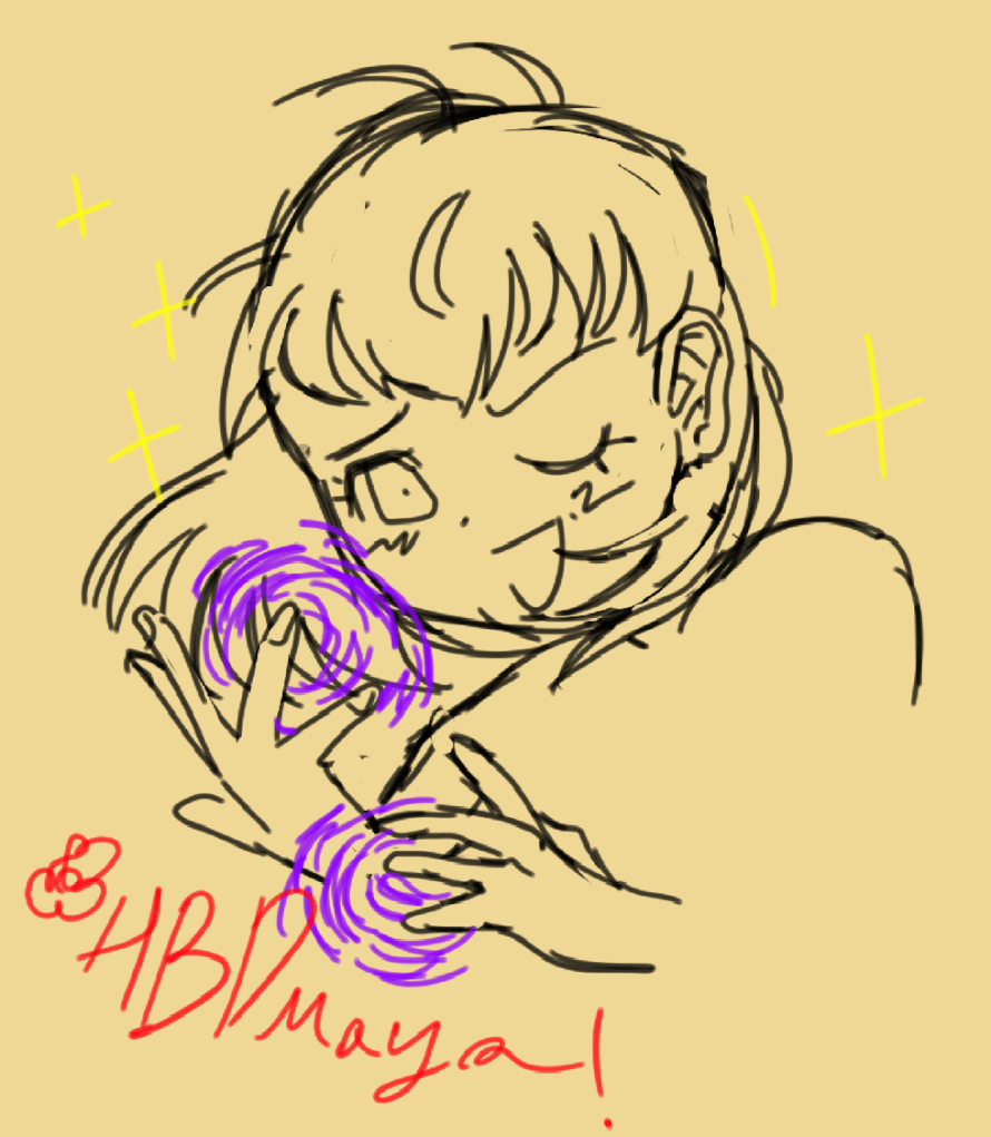 i can never get a proper happy birthday drawing out there... anyway, i drew maya for her...