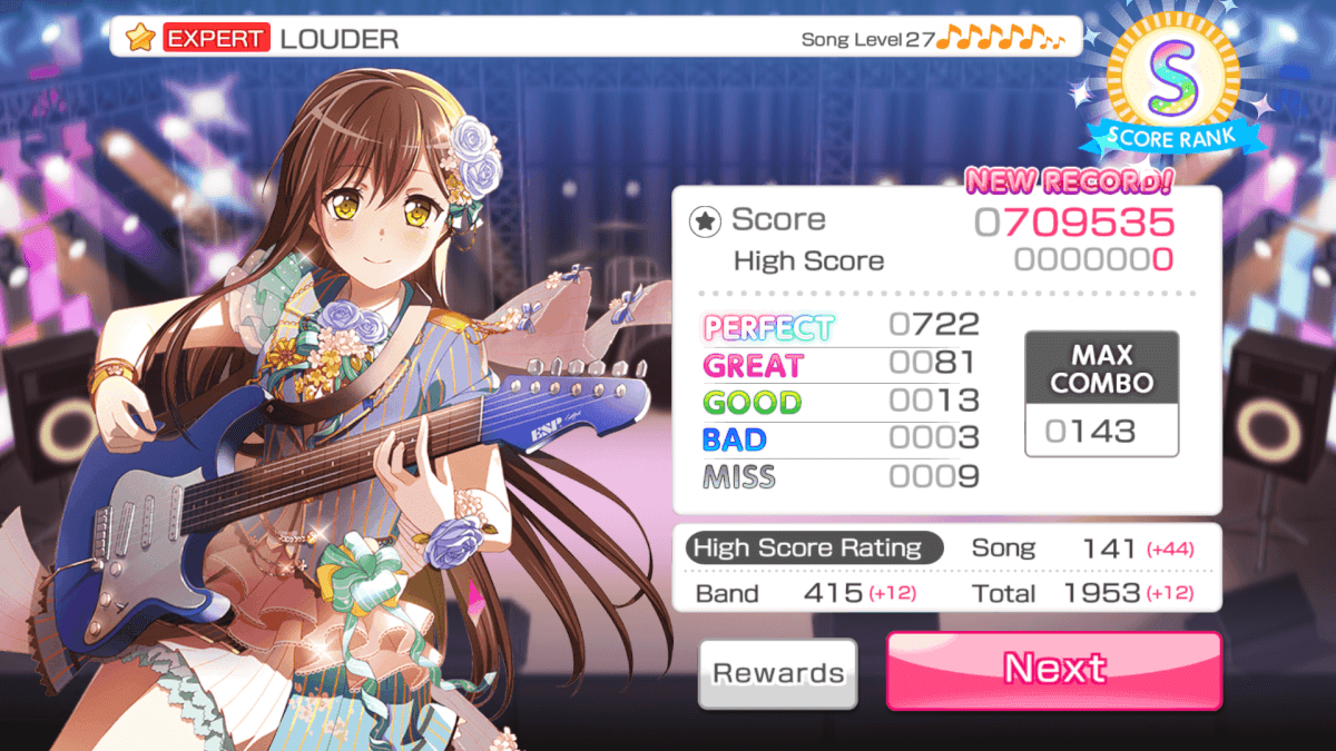 I managed to clear a level 27 expert song for the first time! ^^