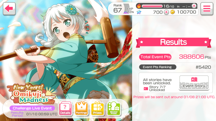 I actually got a semi satisfying ranking for this event... number wise... x.x I was trying to rank...