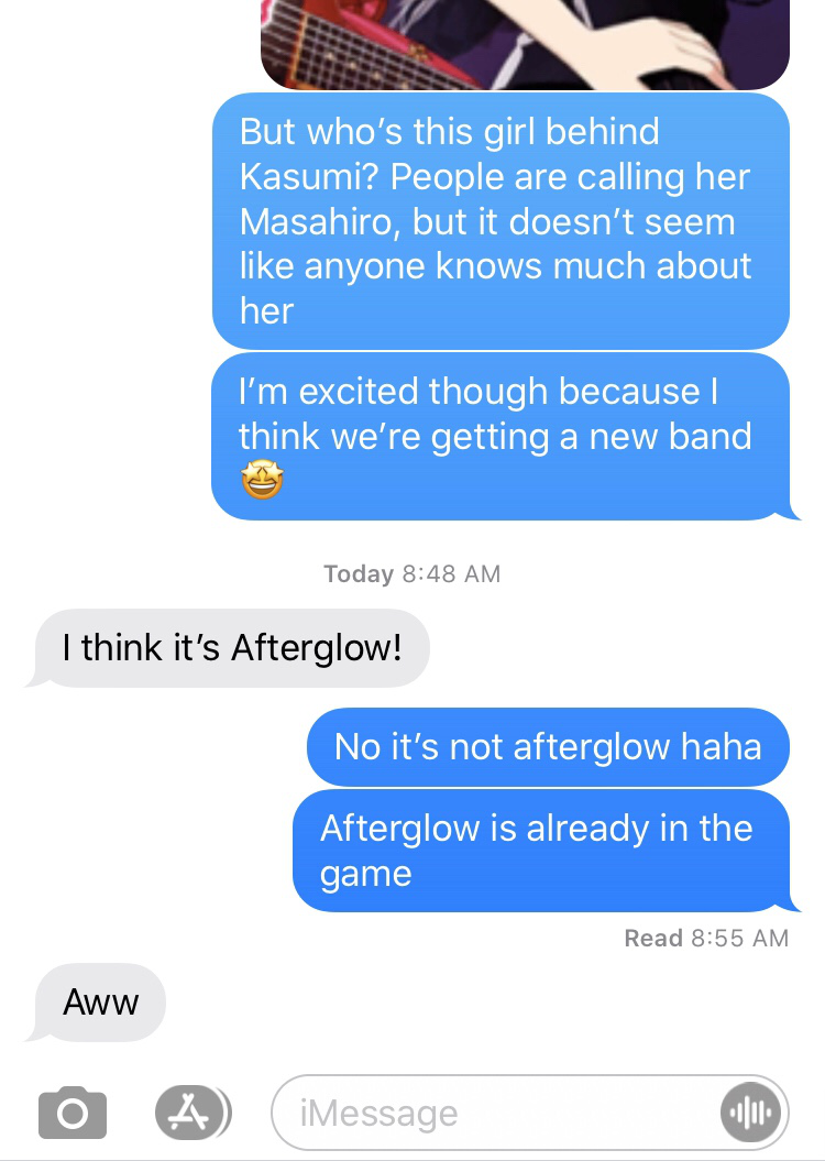 My sister the loyal Afterglow stan