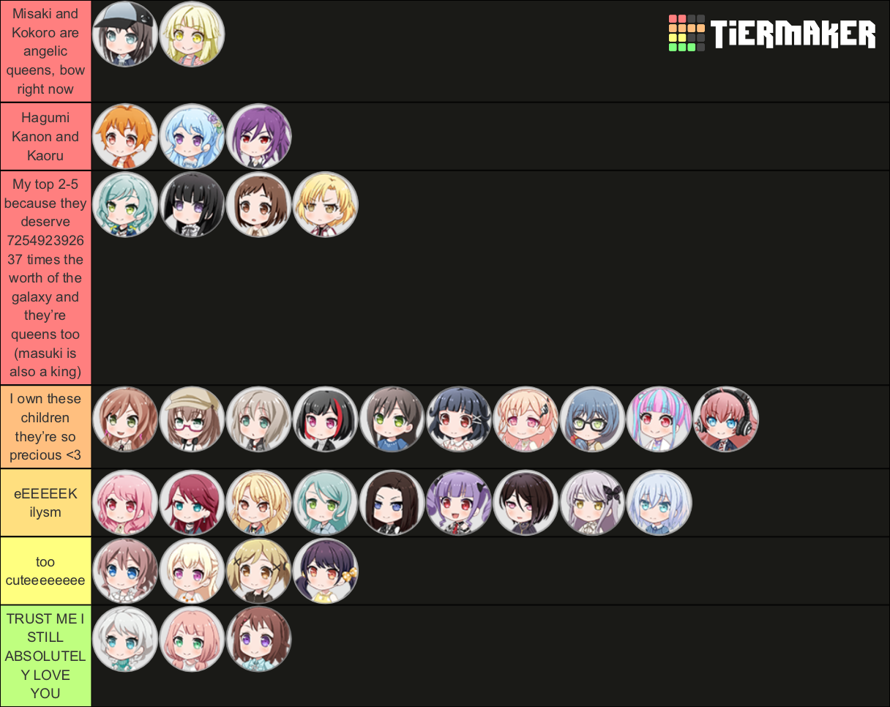 very random but I feel like I'm the one bandori fan who's list changes every 10 minutes im...