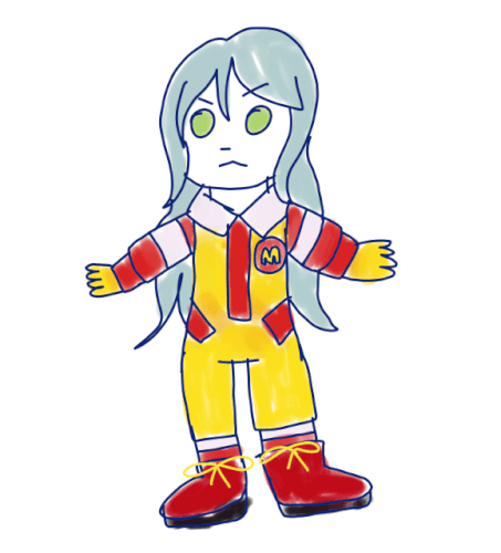 i drew this when someone on the bandori party discord was talking about sayo as ronald mcdonald and...
