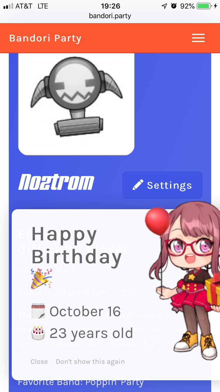 Thank you Bandori.Party for recognizing that today is my birthday! :D