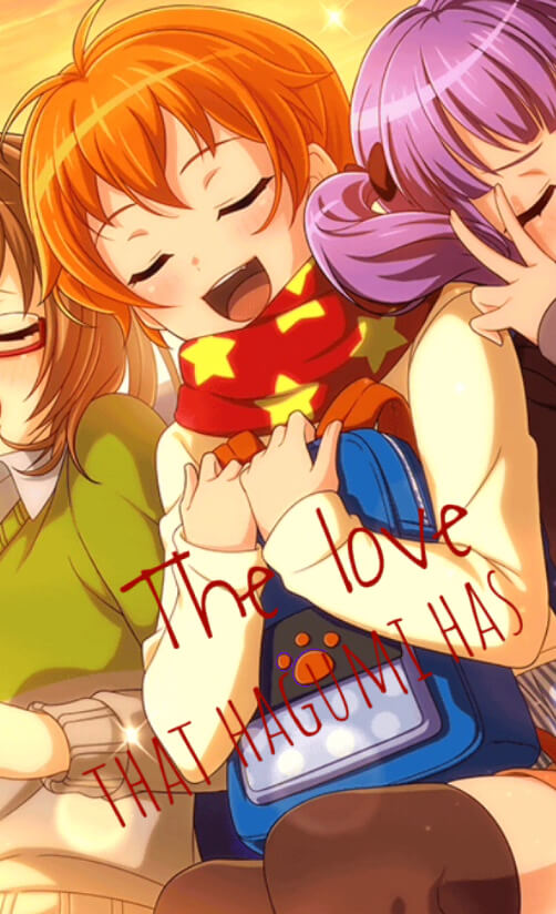 LOL,if u don't understand,that means that hagumi needs more love & she hold the love for her...