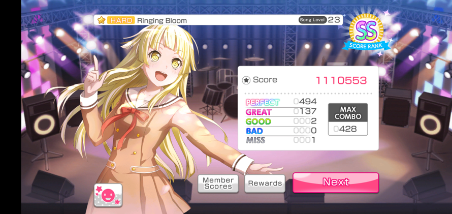 I think this is the closest I've gotten to FCing Ringing Bloom on Hard.
