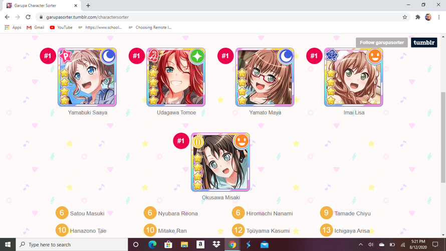 Well, they got my best girls from the first 5 main bands... my best girl from Monica is Nanami and...